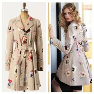 Anthropologie Elevenses Pansy corset trench coat.